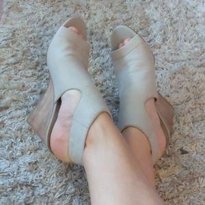 Bone white franco Sarto modern open toe heels